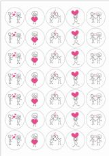 Valentines Stick People Stickers- Love Hearts Fun Cute